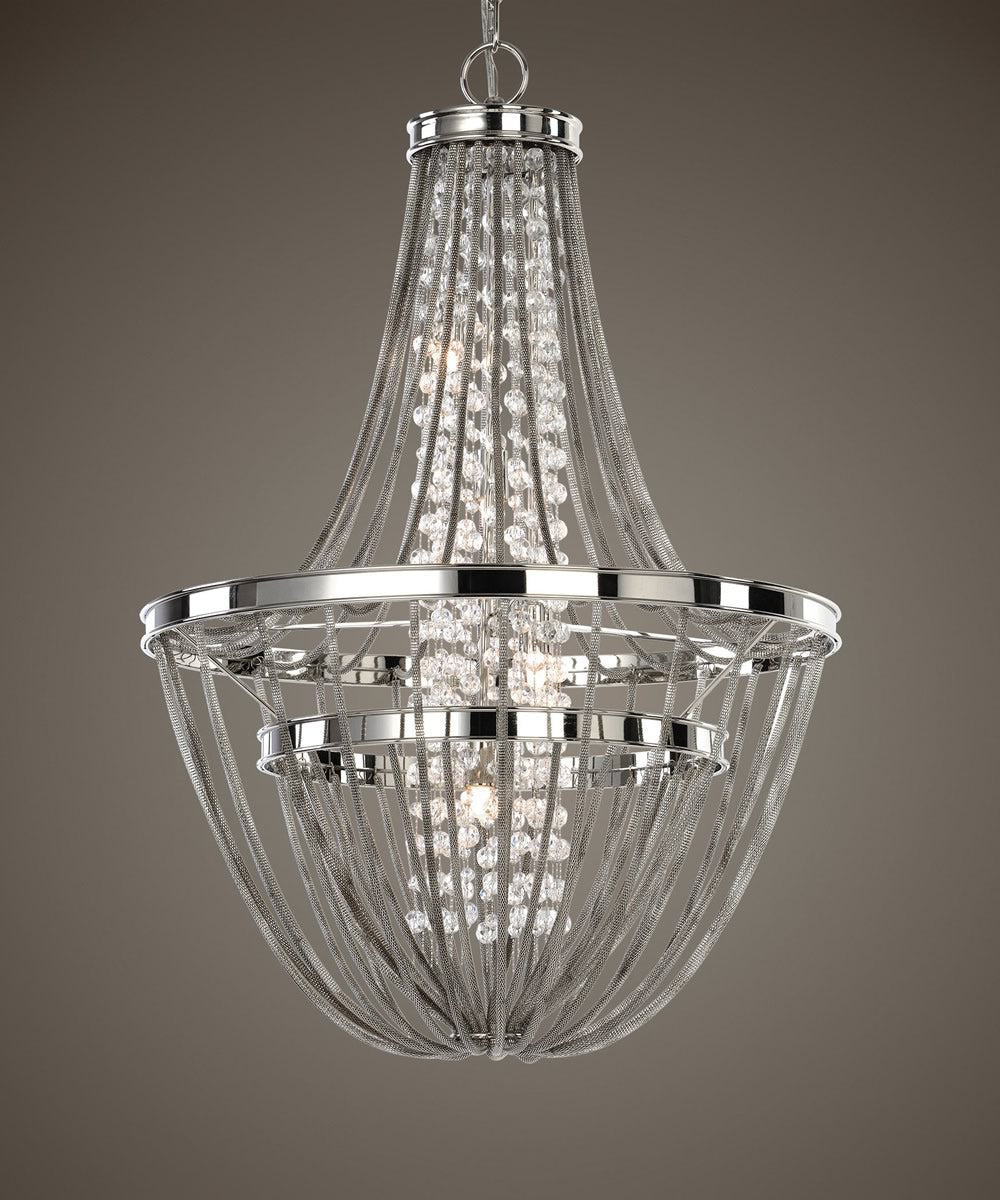 "20""W Couler Polished Nickel 4 Light Chandelier"