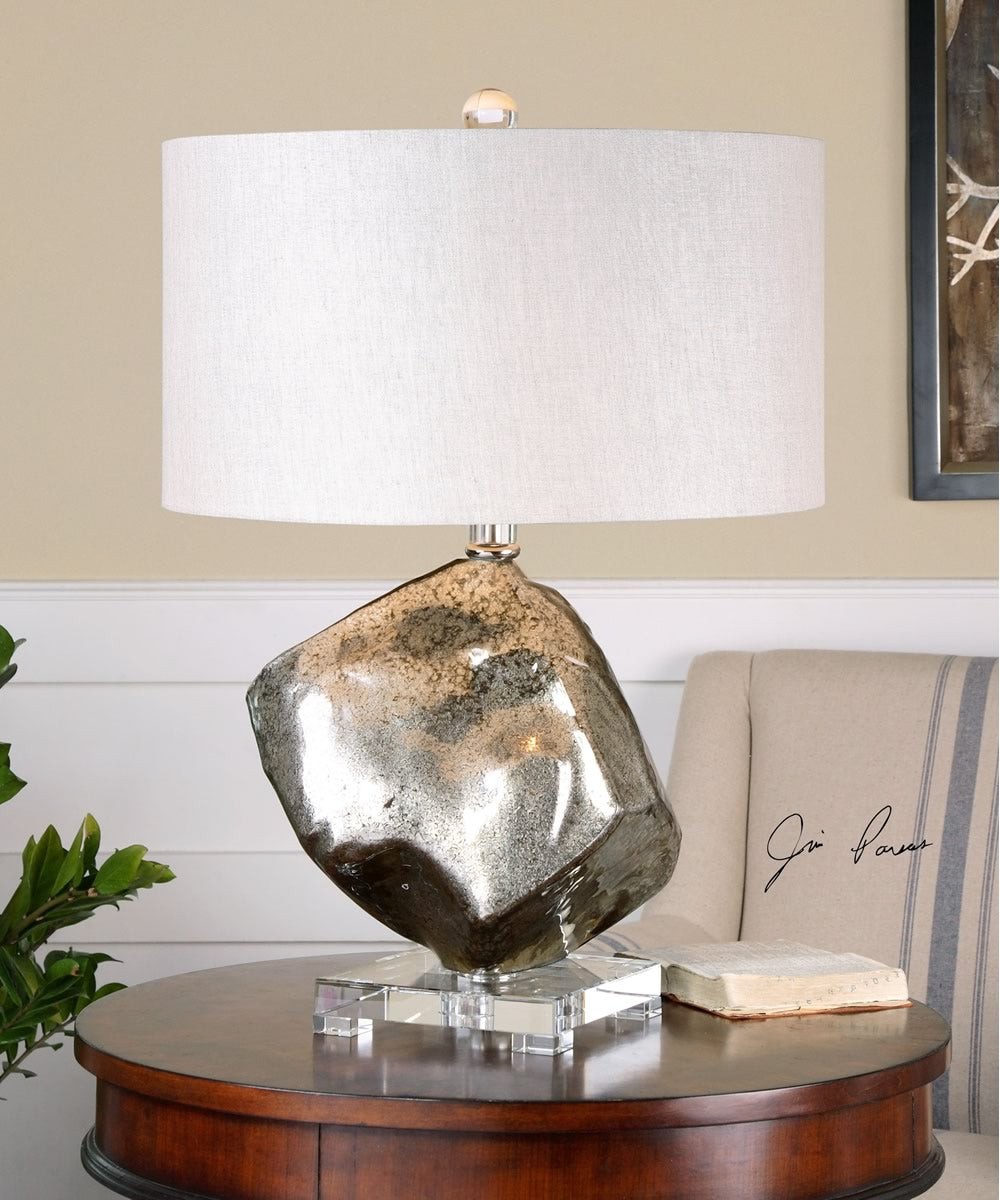 "26""H Everly Silver Glass Table Lamp"