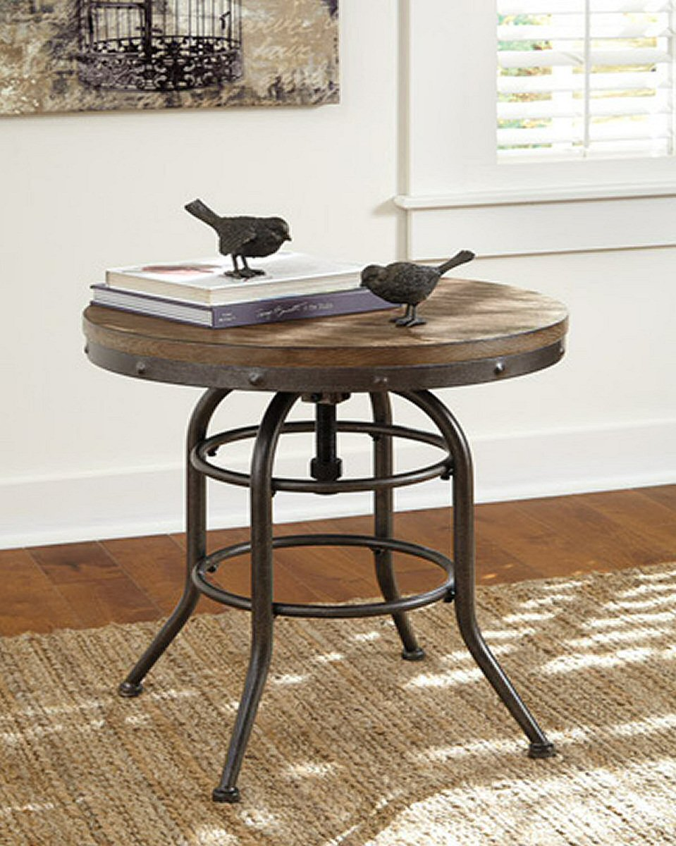 "27""H Vennilux Round End Table Grayish Brown"