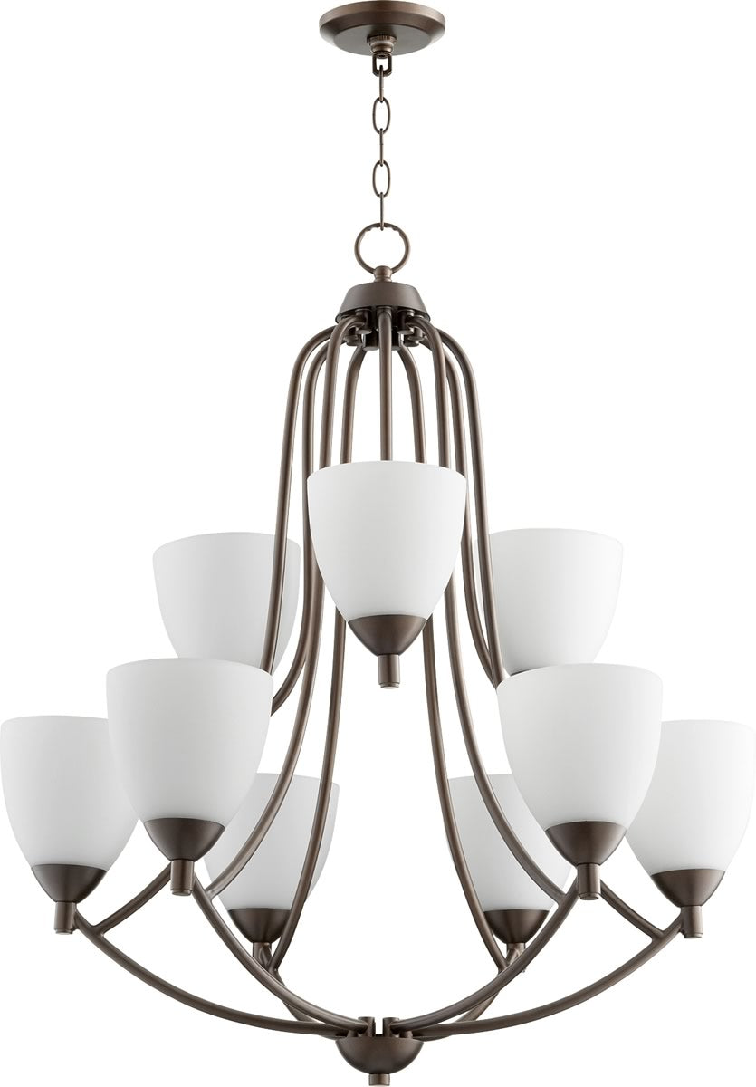 "27""W Barkley 9-light Chandelier Oiled Bronze"