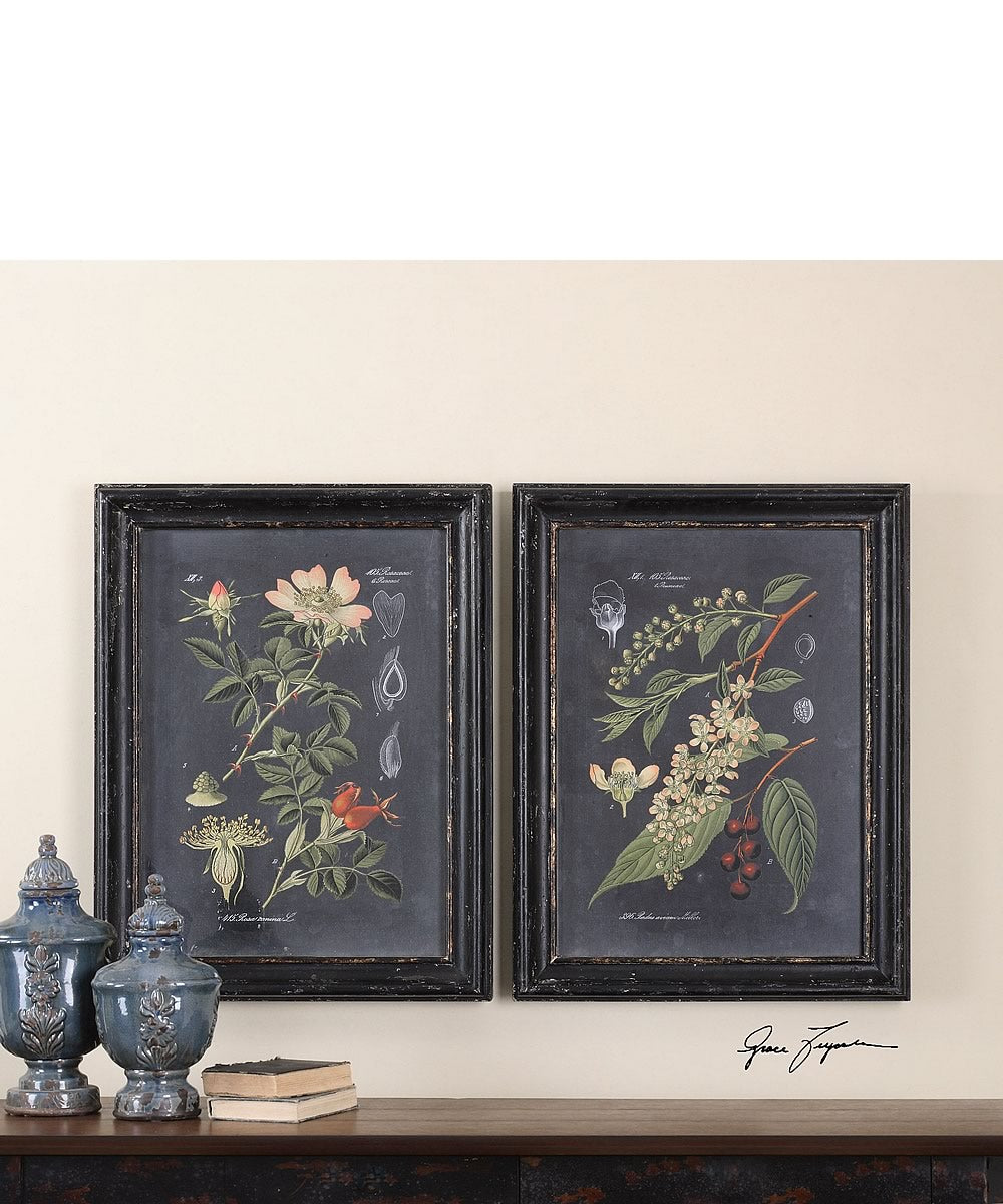 "33""H x 25""W Midnight Botanicals Wall Art Set of 2"