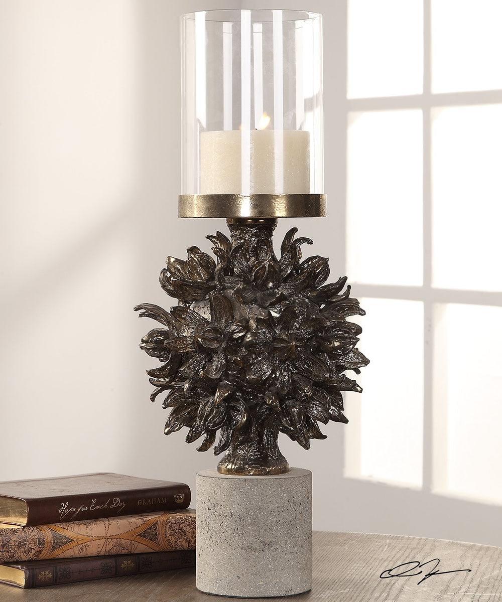"20""H Autograph Tree Antique Bronze Candleholder"
