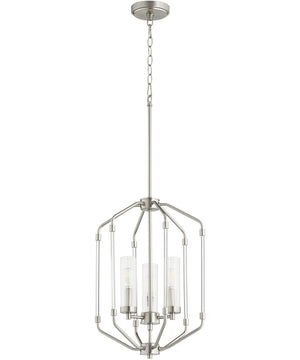 "14""W Citadel 3-light Entry Foyer Hall Chandelier Satin Nickel"