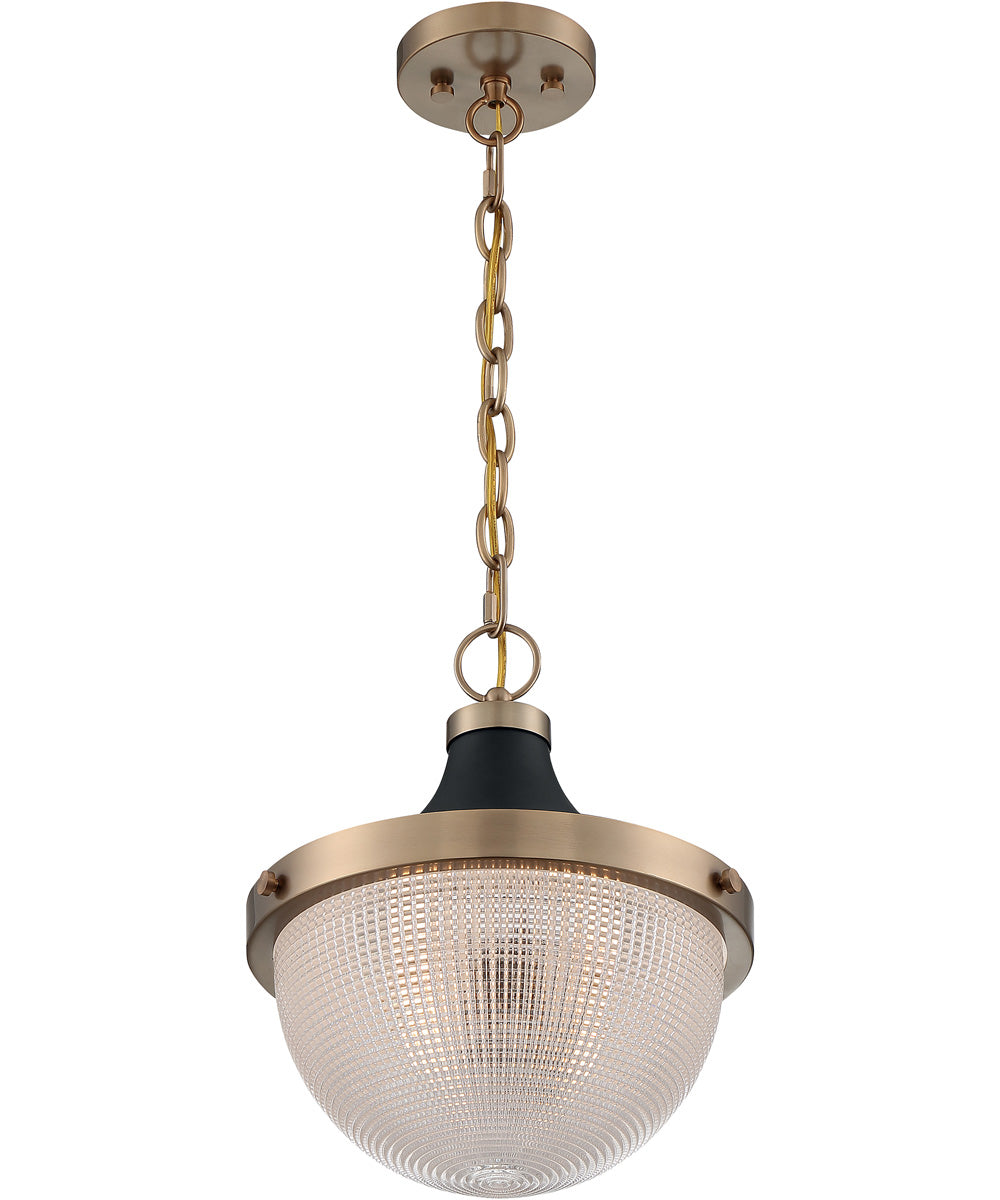 "13""W Faro 1-Light Pendant Burnished Brass / Black Accents"