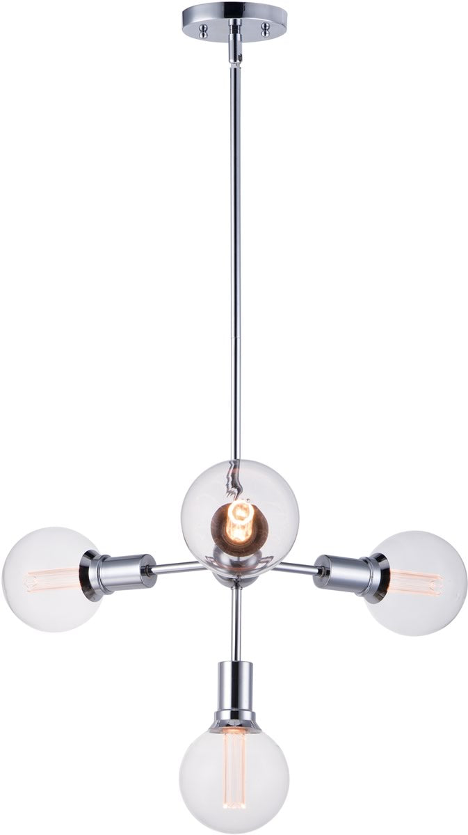 "24""W Molecule 4-Light Pendant with G40 CL LED Bulbs Polished Chrome"