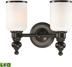 Bristol Way 2-Light LED Vanity Oil Rubbed Bronze/Opal White Glass