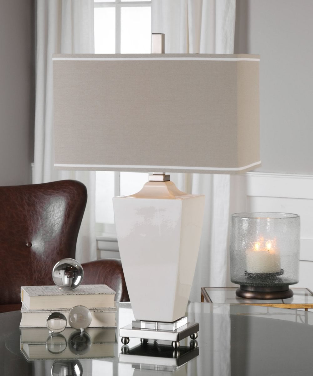 "29""H Rochelle White Glaze Table Lamp"