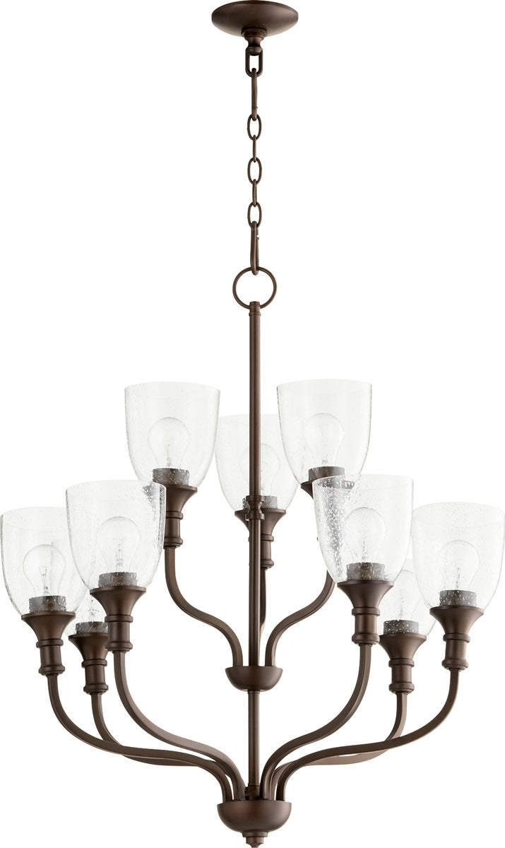 "26""W Richmond 9-light Chandelier Oiled Bronze Clear Seeded"