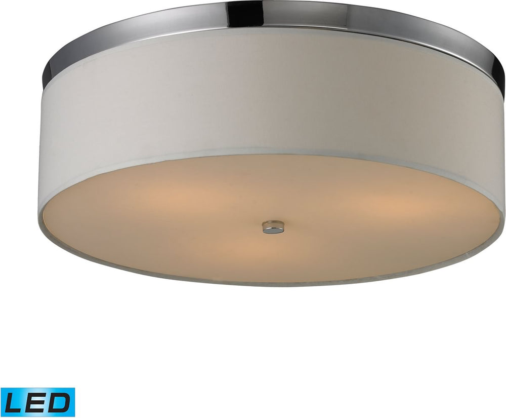 "17""W Flushmounts 3-Light LED Flushmount Polished Chrome/Frosted White Glass"