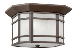 Cherry Creek 2-Light Outdoor Flush Mount in Oil Rubbed Bronze with White