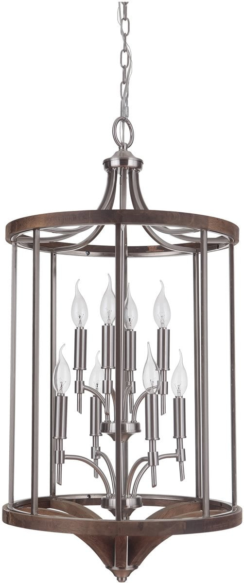 Tahoe 8-Light Foyer Light Brushed Nickel/Whiskey Barrel