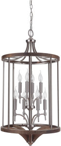 0-008765>Tahoe 8-Light Foyer Light Brushed Nickel/Whiskey Barrel