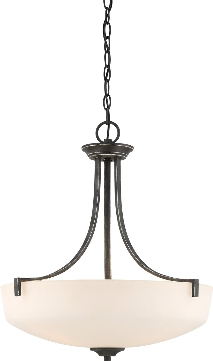 "19""W Chester 3-Light Pendant Iron Black"