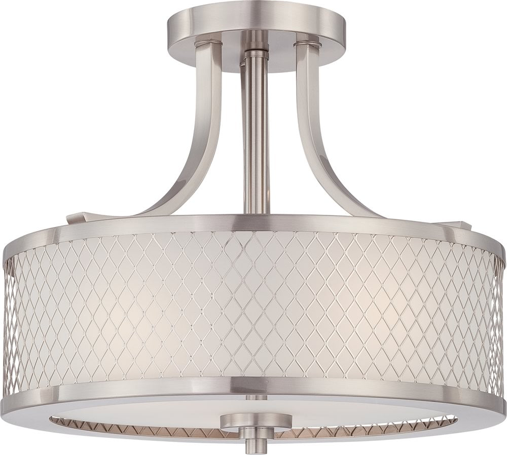 "14""W Fusion 3-Light Close-to-Ceiling Brushed Nickel / Frosted"