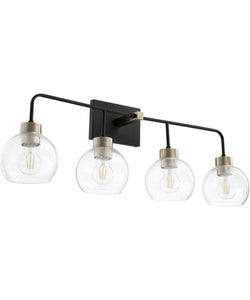 Lacy 4-light Bath Vanity Light Noir w/ Aged Brass