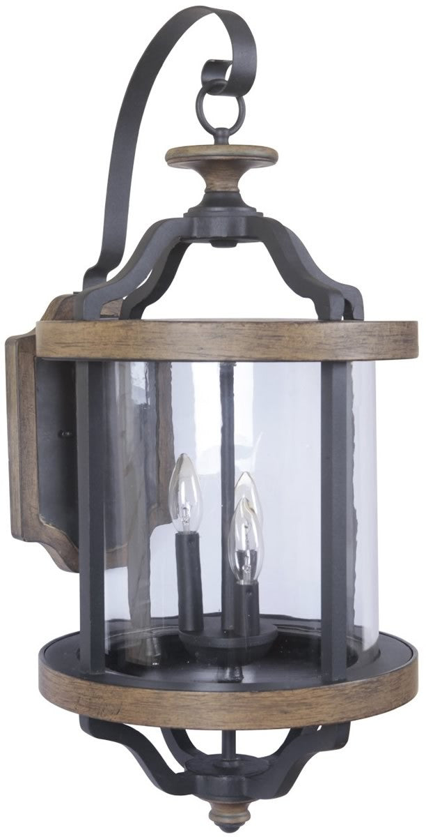 Ashwood 3-Light Outdoor Wall Light Textured Black/Whiskey Barrel