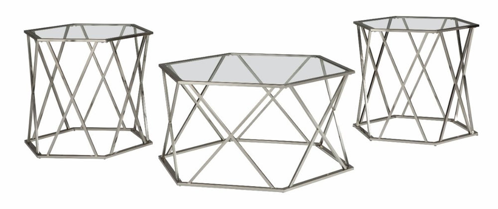 Madanere Occasional Table Set (Set of 3) Chrome