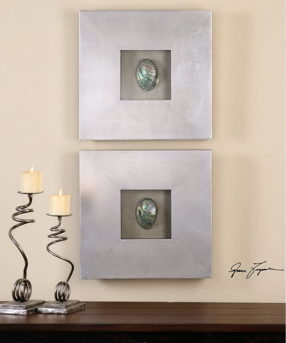 "20""H Abalone Shells Silver Wall Art Set of 2"