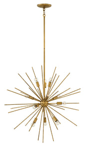 Tryst 12-Light Stem Hung Pendant in Burnished Gold