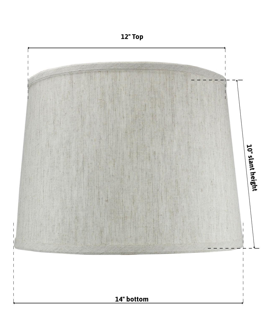 "14""W  x 10""H SLIP UNO FITTER Textured Oatmeal Drum Shade"