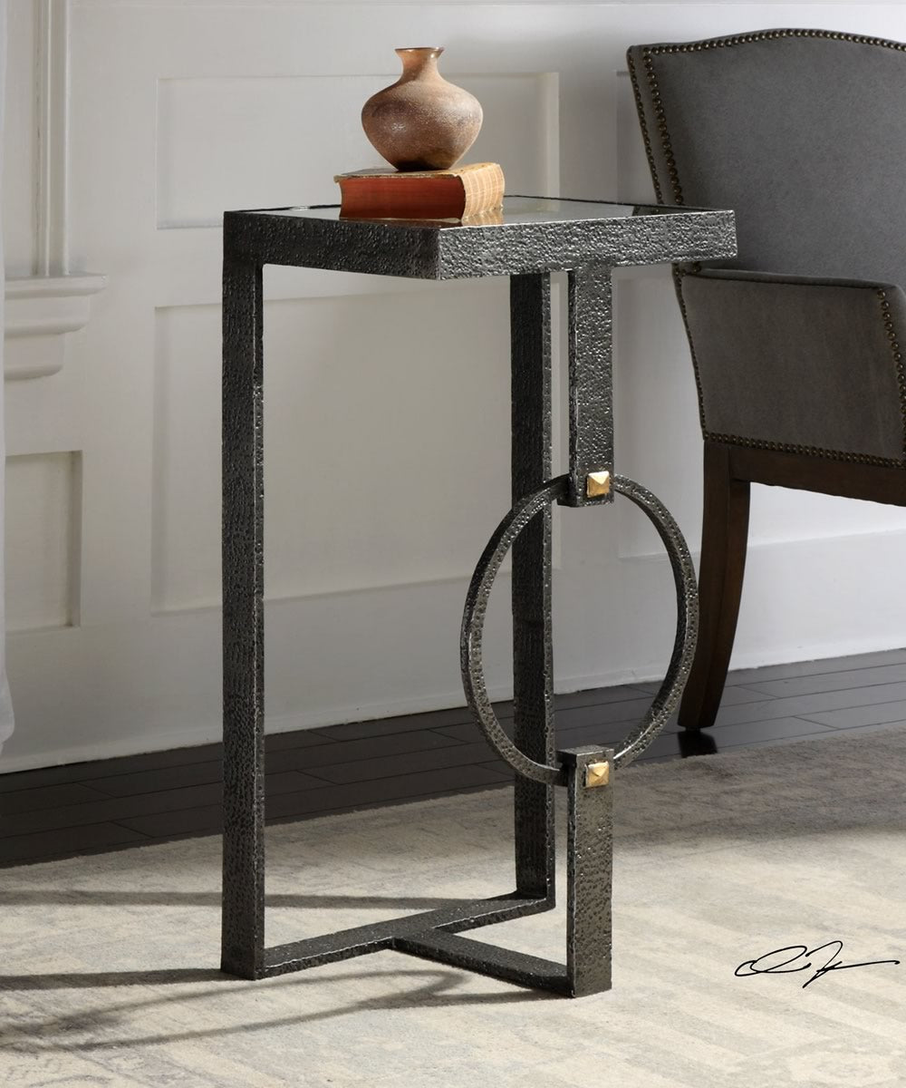 "30""H Hagen Burnished Steel Accent Table"