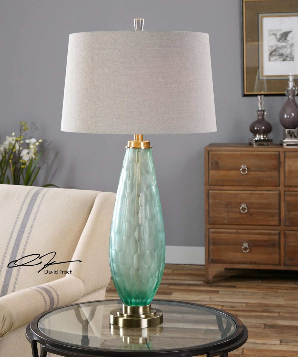"33""H Lenado Sea Green Glass Table Lamp"