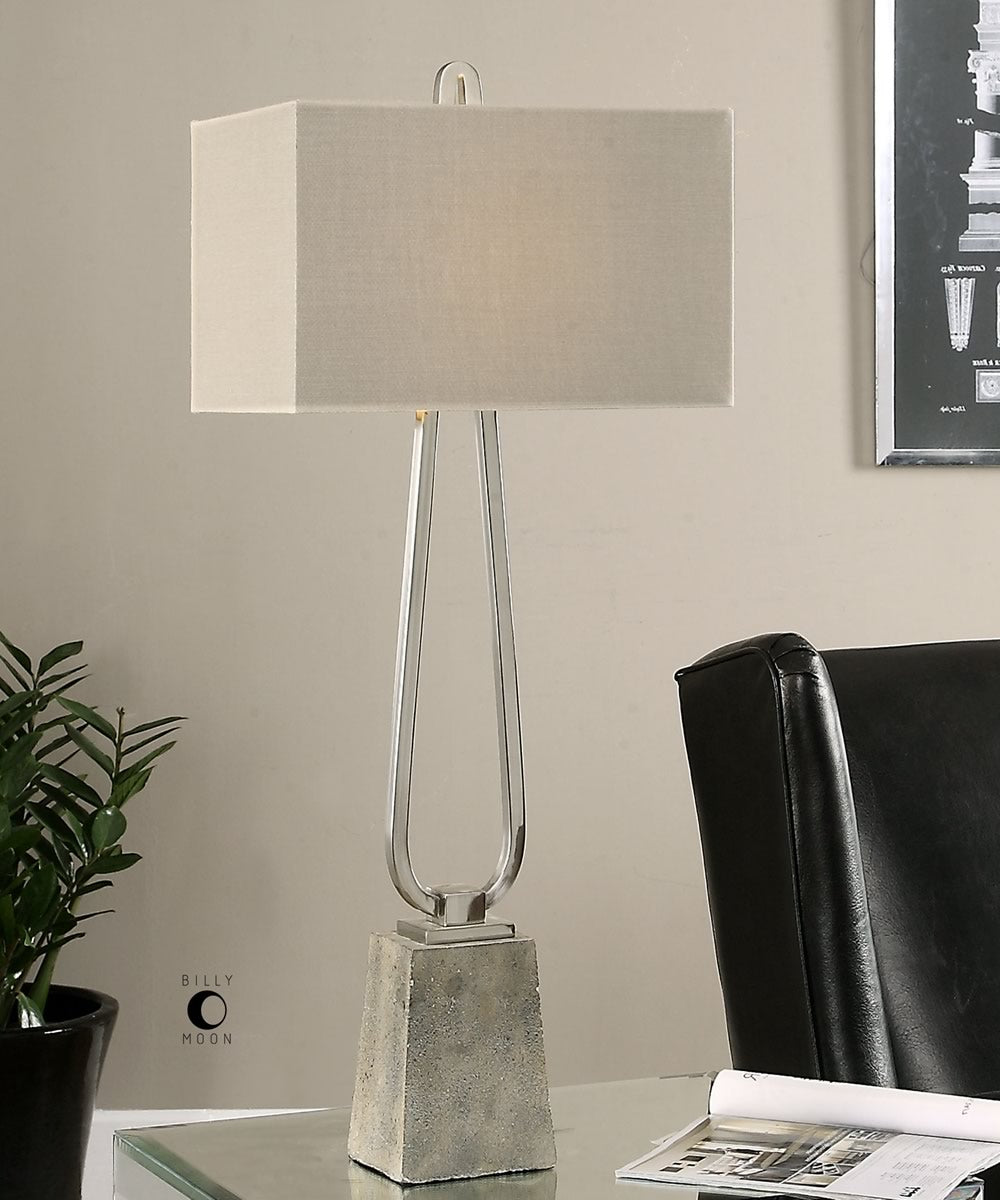 "37""H Carugo Polished Nickel Lamp"