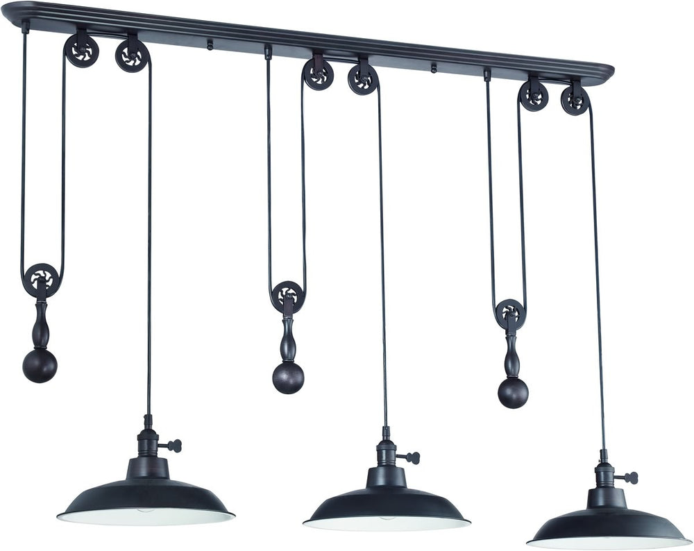 3-Light Pulley Pendant Light Aged Bronze