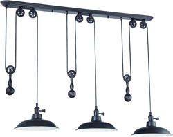 0-009975>3-Light Pulley Pendant Light Aged Bronze