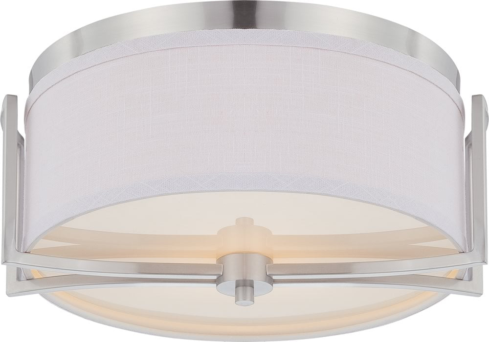"15""W Gemini 2-Light Close-to-Ceiling Brushed Nickel"
