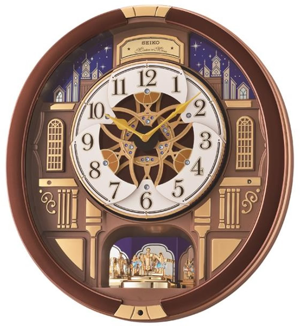 "16""H Melodies in Motion Clock  with Rotating Pendulum and 18 Hi-Fi Melodies"