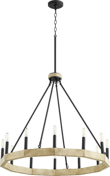 "30""W Alpine 12-light Chandelier Noir w/ Driftwood finish"