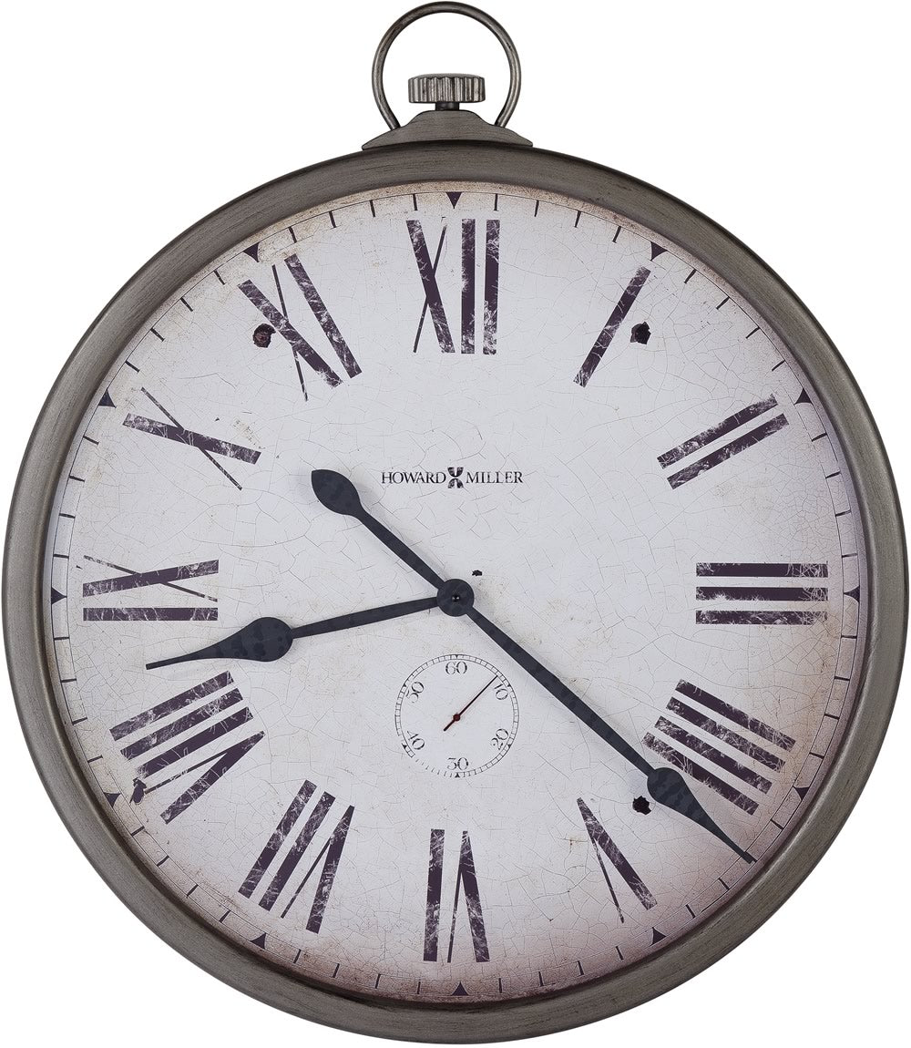 "35""H Gallery Pocket Watch Wall Clock Antique Nickel"