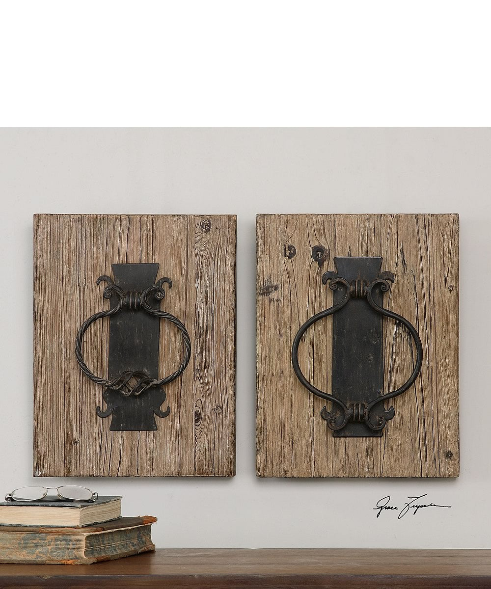 "16""H x 12""W Rustic Door Knockers Wall Art Set of 2"