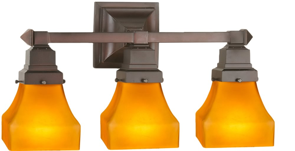"20""W Bungalow Frosted Amber 3 Light Vanity Light"