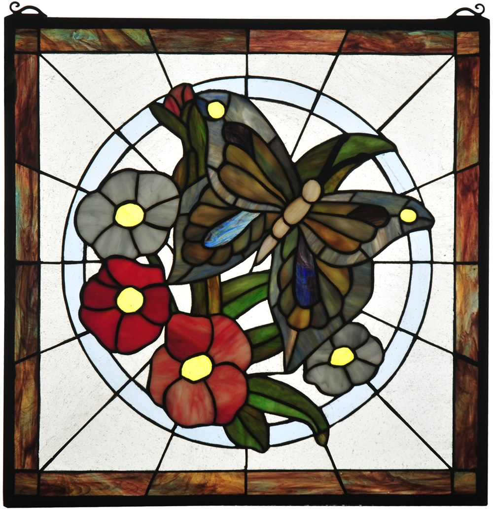 "20""H Butterfly Floral Stained Glass Window"