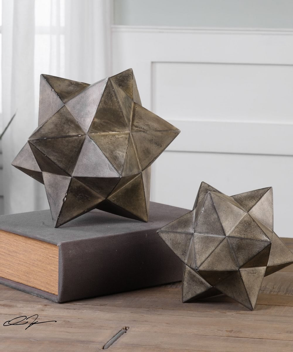 "11""H Geometric Stars Concrete Sculpture Set of 2"