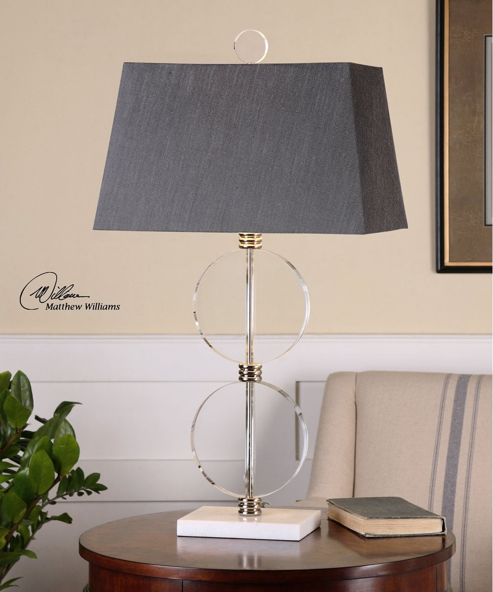 "33""H Telesino Crystal Disk Table Lamp"