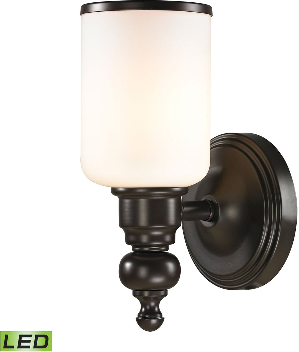 "5""W Bristol Way 1-Light LED Vanity Oil Rubbed Bronze/Opal White Glass"