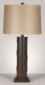"30""H Oriel 3-Way Set of 2 Table Lamp Antique Copper and Wood"