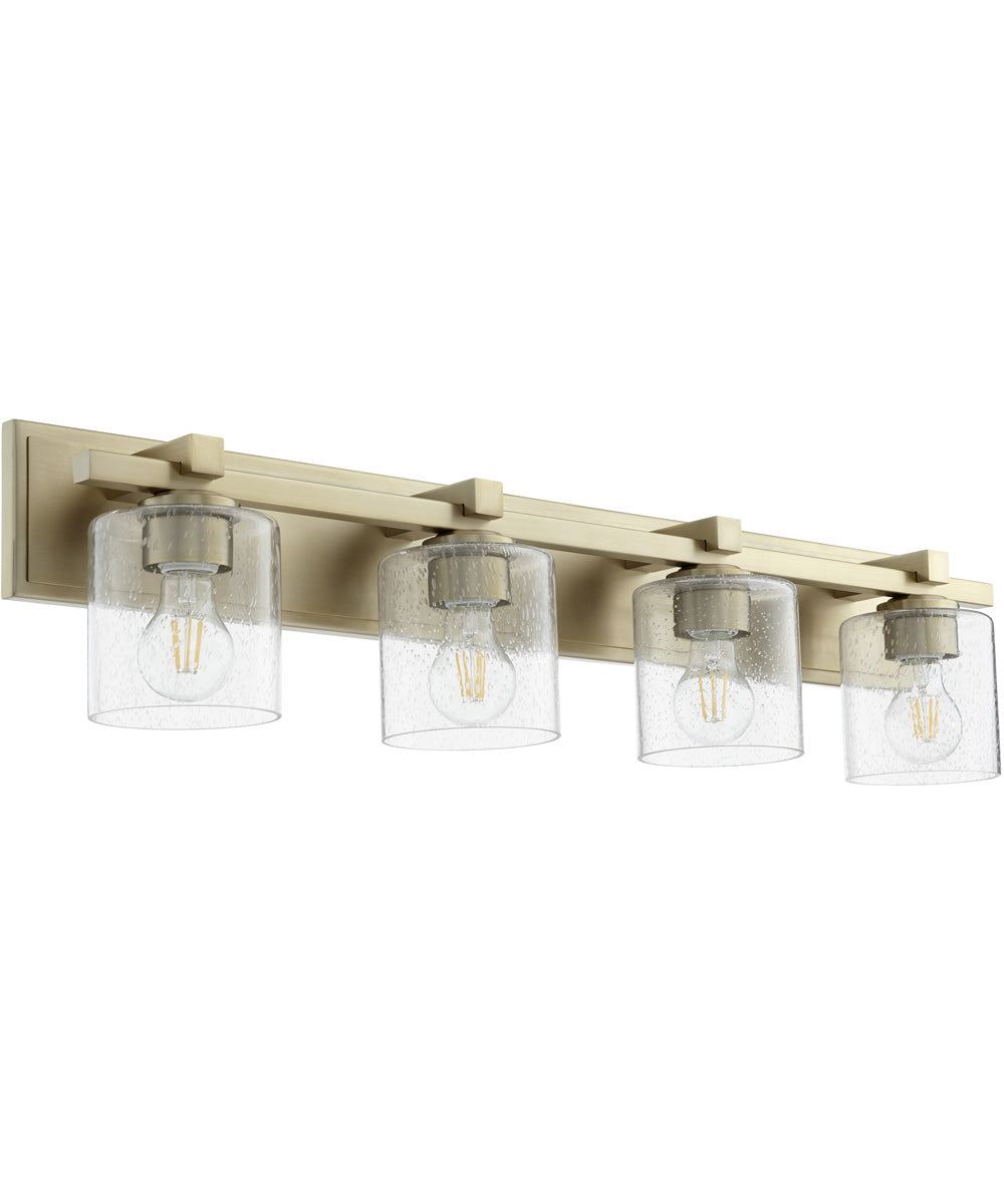 4-light Bath Vanity Light Aged Brass w/ Clear/Seeded