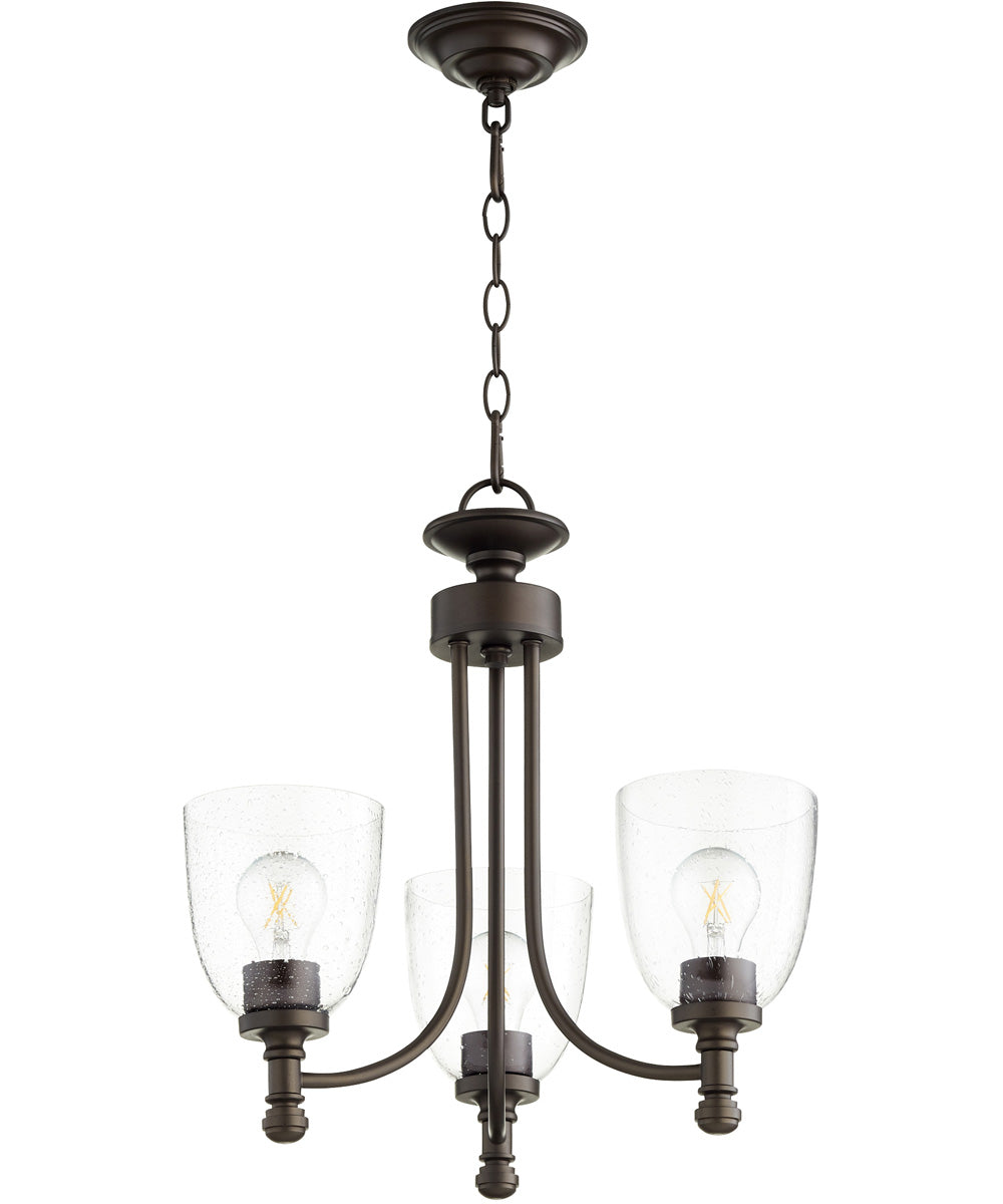 "18""W Rossington 3-light Chandelier Oiled Bronze w/ Clear/Seeded"