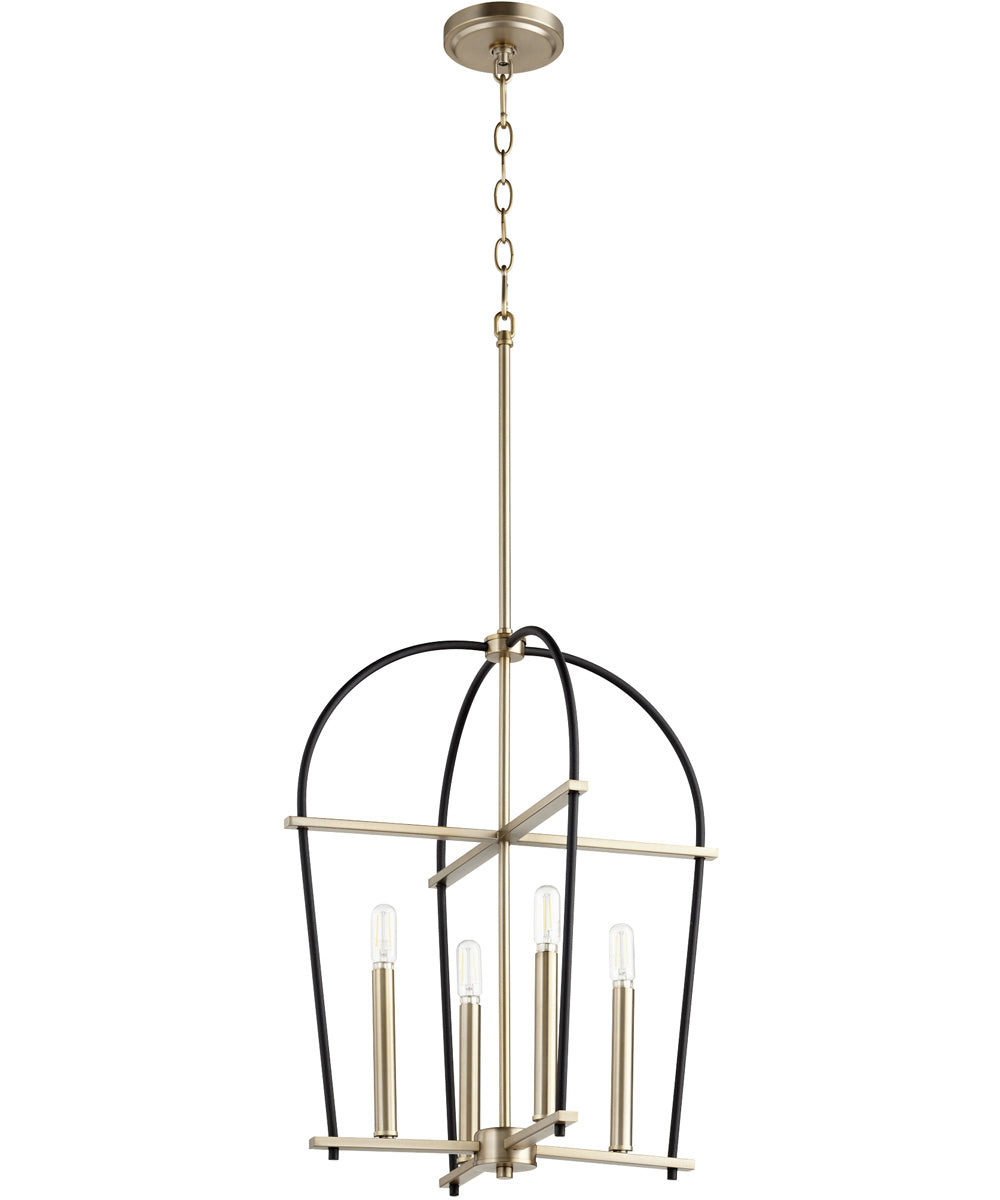 Espy 4-light Entry Foyer Hall Chandelier Noir w/ Aged Brass