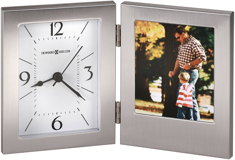 "5.25""h Envision Tabletop Clock Brushed Aluminum"