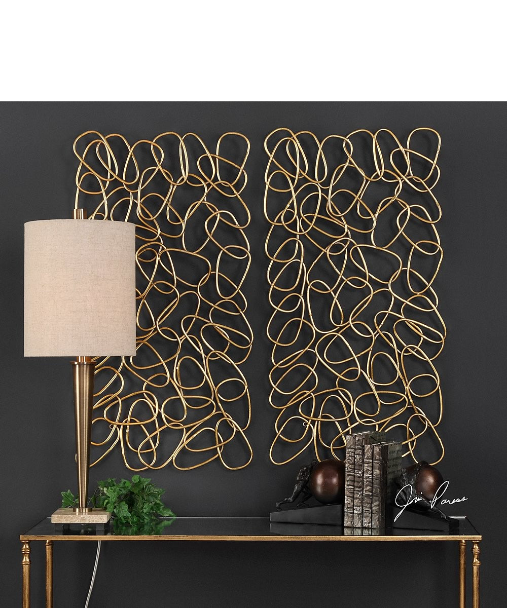 "38""H x 19""W In The Loop Gold Wall Art Set of 2"