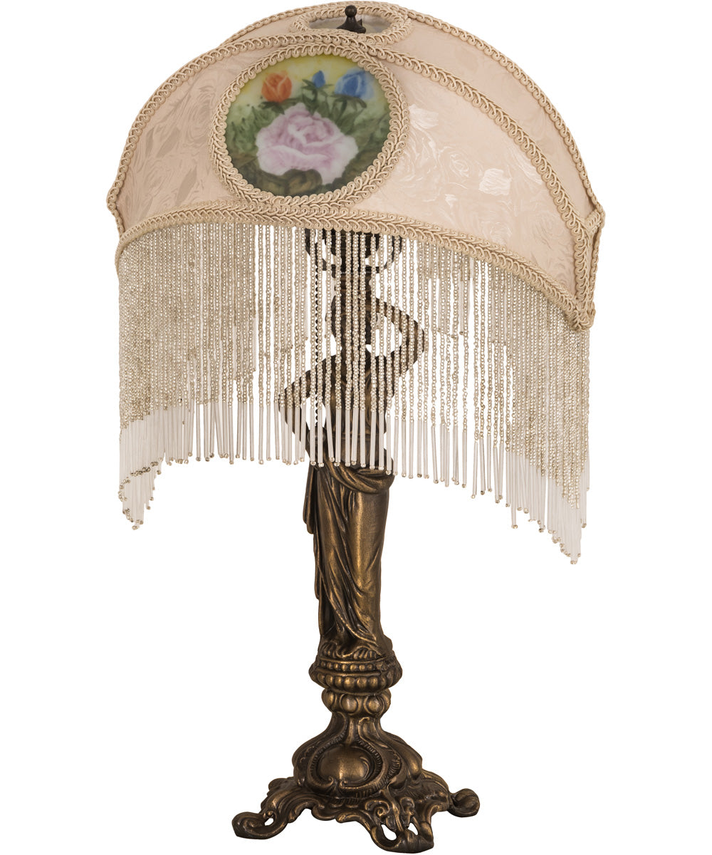 "20""H Reverse Painted Roses Fabric with Fringe Table Lamp"