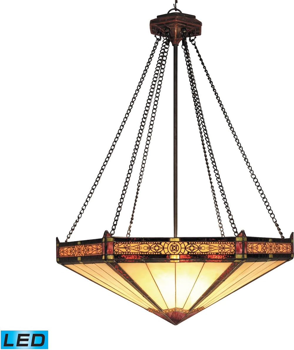 "22""W Filigree 3-Light LED Pendant Aged Bronze"