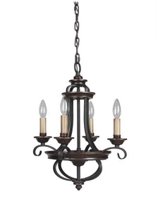 Stafford 4-Light Chandelier Aged Bronze/Textured Black
