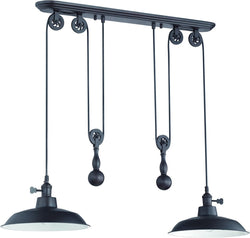 0-009960>2-Light Pulley Pendant Light Aged Bronze