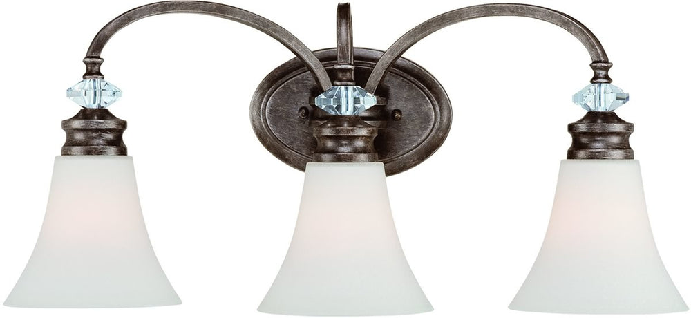 "25""w Boulevard 3-Light Bath Vanity Light Mocha BronzeSilver Accents"